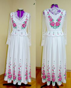 Poland: handpainted weddng dress from the region of Podhale Folk Costume, Costumes, Polish Wedding, Folk Dance, Wedding Wishes, Traditional Dresses, New Trends, Fashion Dresses, Girly