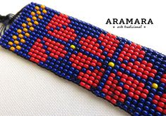 Lenght 6.3 inches (16 cms) and the strings adds around 2 inches (5.04 cms) on each side Width: 2 inches (5.08 cms) This bracelet was made in a loom. The Huichol represent one of the few remaining indigenous cultures left in Mexico. They live in self-imposed isolation, having chosen long