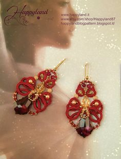 Capodanno 2015 earring tutorial needle tatting by Happyland87