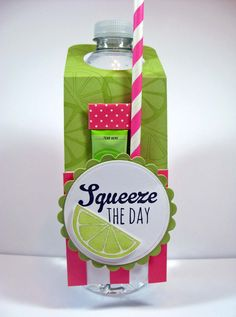 Water Bottle treat with paper straw - bjl