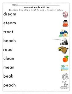 Long Vowel Word work for EE and EA Word to Picture Match3 reading passages Write the Word given pictures Read with Speed and Accuracy Word List