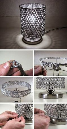 3 cheap and simple useful ideas: lampshades made of metal .- 3 billige und einfache nützliche Ideen: Lampenschirme aus Metall Jugendstil kle… 3 cheap and simple useful ideas: lampshades made of metal Art Nouveau small lamps … - Home Crafts, Diy And Crafts, Crafts Cheap, Pop Tab Crafts, Small Lamp Shades, Small Lamps, Lampe Decoration, Lamp Makeover, Pop Cans