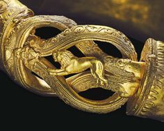 Greek Gold Heracles Knot Bracelet, C. 300 BCFormed from a hollow hoop fashioned from sheet, convex on the exterior, each end with a collar terminal secured by a pin, its tip with granulation, the...
