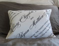 Custom DIY pillow as a second wedding anniversary gift (traditionally cotton). Used transfer paper to print typography from our wedding invitation onto cotton, then turned it into a pillow case!