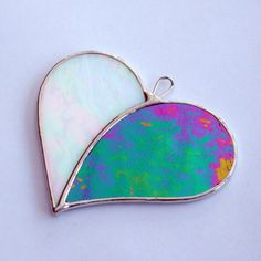 Stained Glass ornament Love Heart When Two Hearts by neilsglass