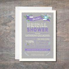 Bridal Shower invitation, Purple and Grey Bridal Shower Invitation, Floral Shower Invite, printable, DIY, Retirement Party Invitation by Oohlalovely on Etsy https://www.etsy.com/listing/220905115/bridal-shower-invitation-purple-and-grey