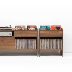 Vintage Furniture Unison Walnut Record Storage Stand with Vinyl - flip style bins coordinates with Unison Record Stand solid wood construction Vinyl Record Cabinet, Vinyl Record Storage, Lp Storage, Vinyl Records, Storage Cabinets, Record Player Table, Record Player Cabinet, Record Shelf, Record Stand