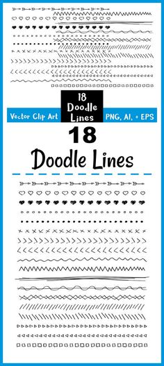 18 Hand Drawn Doodle Lines Clipart- These fun doodle lines could be used as borders, frames, or dividers between elements in your projects! | drawing, arrows, hearts, squares, pen and ink, vector clipart, scrapbooking, journaling, graphic design, doodle clip art, Etsy
