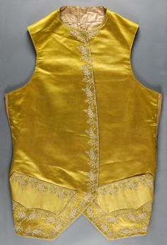 Waistcoat, France, 1760-1770. Chartreuse (now faded to acid yellow) silk satin with silk and chenille embroidery in chain stitch.