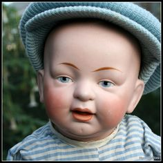 German Character baby with Great Modeling from signaturedolls on Ruby Lane Antique Dolls, Vintage Dolls, German Boys, Googly Eyes, Kewpie, Boy Doll, Little Man, Doll Clothes, Modeling