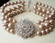 Champagne Pearl Wedding Bridal Bracelet, Vintage Style Bridal Wedding Jewelry, Rhinestone and Pearl Bracelet, Champagne Pearls, VICTORIA. $79.00, via Etsy.