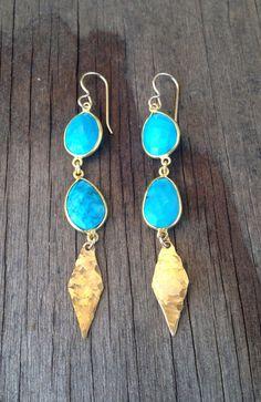 Double Turquoise bezel Stone earrings with hammered diamond drop - EG12www.etsy.com/shop/joydravecky $98