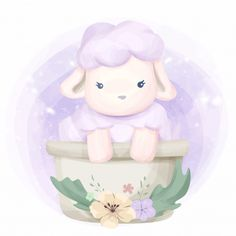 Cute animal little sheep illustration Anime Animals, Baby Animals, Cute Animals, Baby Sheep, Cute Sheep, Animal Drawings, Cute Drawings, Animal Illustrations, Drawing Sketches