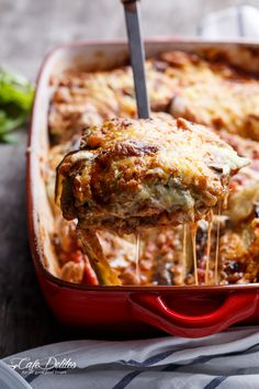 Sausage Eggplant Lasagna With Ricotta Pesto! A low carb lasagna cutting half of the calories of regular lasagna using eggplant in place of pasta sheets.
