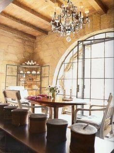 great ceiling, window/door and stone walls - by designer John Saladino