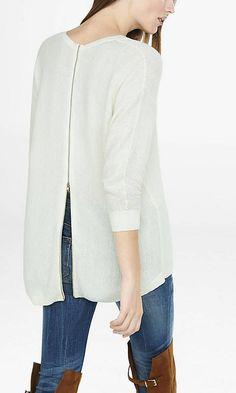 Textured Zip Back Hi-lo Hem Sweater from EXPRESS