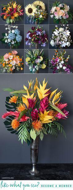 DIY Giant Paper Flower Bouquets - www.LiaGriffith.com #CricutMade #CricutMaker #PaperFlowers #PaperFlower #TropicalFlowers #DIYPaper #DIYPaperFlowers #PaperFlowerTutorial #SVGCutFiles
