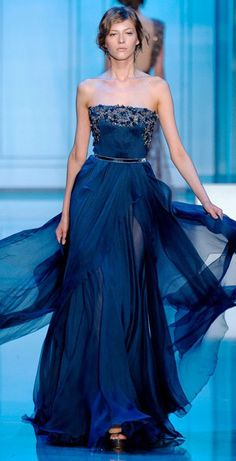 blue evening gown by Elie Saab Fall 2011 Couture