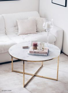 INTERIOR LIVING ROOM | INSPIRATION: gold and white marble couch / coffee table in my scandinavian paris home!