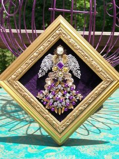Vintage Rhinestone Jewelry Christmas Tree Framed Angel Art - Gold & Purple #CostumeJewelry