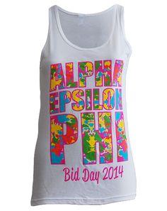 Alpha Epsilon Phi Tide Bid Day Tank by Adam Block Design   Custom Greek Apparel & Sorority Clothes   www.adamblockdesign.com