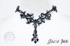 READY TO SHIP Gothic Floral Fantasy necklace with black