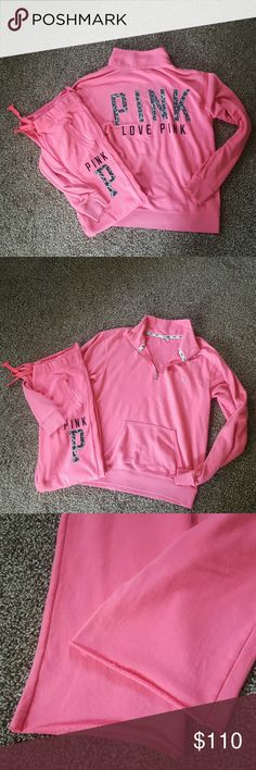 VS Super Rare Cheetah Outfit!!! Super HTF half zip paired with matching boyfriend-style pants! Perfect condition just some SLIGHT piling, i wouldn't even say its a flaw because its super minor  Pants not hemmed on bottom, super soft material No trading on this PINK Victoria's Secret Tops Sweatshirts & Hoodies