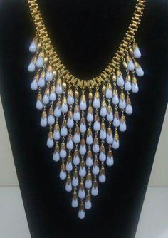 Miriam Haskell - Baby Blue Glass Tear Drop Bead Bib Necklace - Egyptian Revival style