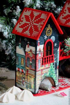 """Купить Чайный домик """"Ночь перед рождеством"""" - домик, домики, домик для чая Cute House, Tea Box, Glitter Houses, Christmas Pictures, Bird Houses, Holiday Crafts, Diy And Crafts, Projects To Try, Stationery"""