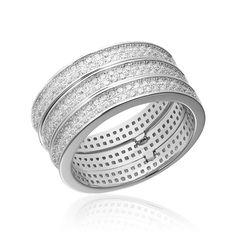 Grup de 3 inele argint Eternity cu cristale Cod TRSR262