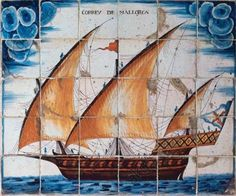 SPAIN. Ceramic panel depicting the Mail of Mallorca, xebec type ship, 18th century. Barcelona Maritime Museum. Spain.