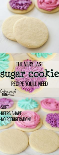 """Perfect Sugar Cookie Recipe is really just that- PERFECT. These sugar cookies come together quickly with only 6 ingredients; butter, sugar, egg, vanilla, flour and baking soda. The cookies keep shape while baking, are soft and chewy, plus there is NO refrigeration! This Sugar Cookie recipe is PERFECTION!""-Cooking with Karli"