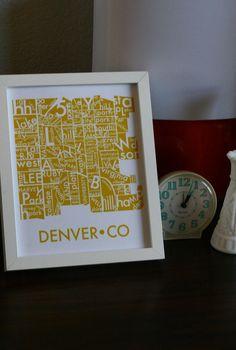 denver neighborhood type map in mustard yellow art print poster wall decor. $12.00, via Etsy.