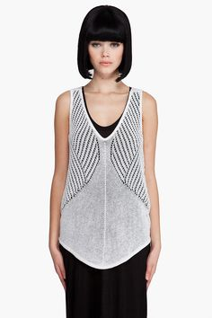 Helmut Lang geometric pointelle tank top. I can't help but think I should be able to figure out how to make this!