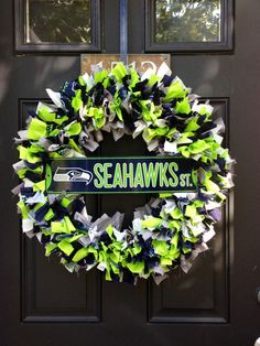 SEATTLE SEAHAWKS Fabric Wreath by HSRCreations on Etsy