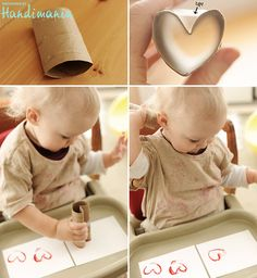 Heart stamps made of empty toilet paper roll