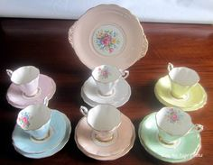 Free Shipping Royal Standard by Chapmans Tea Party Lot consisting of 6 Bone China Tea Cups,Saucers and Bread Plate plus a Handled Cake Plate by LauriesFineChina on Etsy