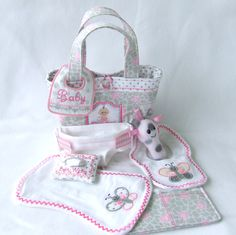 This is a DOLL diapering set and includes the mini tote.  Wouldn't this make a great Christmas gift?