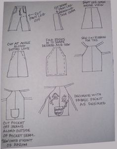 Making a Jeans Apron 2019 Denim Apron Diagram The post Making a Jeans Apron 2019 appeared first on Denim Diy. Sewing Tutorials, Sewing Hacks, Sewing Crafts, Sewing Projects, Sewing Patterns, Apron Patterns, Dress Patterns, Easy Apron Pattern, Bag Patterns