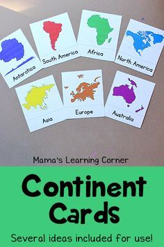 Continent Cards: Free Printable to learn the continents! Several suggestions for use included.