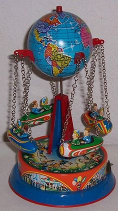 Vintage Tin Litho West Germany Planet Rocket Go Round Mechanical Toy JW Toys | eBay