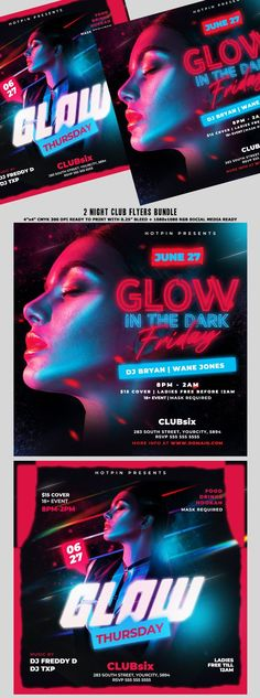 """Night Club Flyer Bundle Template are 2 very modern psd flyer that will be the perfect invitation for your Night Club event, party or Ladies night party! All elements are in separate layers and all text is editable! 4 PSD Files 4""""x4"""" Ready to print + 1080×1080 Rgb Social Media Ready"""