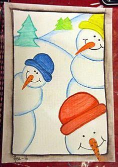 Teaching Drawing, Teaching Art, 4th Grade Crafts, Christmas Art For Kids, Classe D'art, Third Grade Art, New Year Art, Winter Art Projects, Acrylic Painting For Beginners