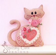 Cat Stuffed Animal Sewing Pattern  Felt Plushie by SquishyCuteDesigns.com - Valentine's Day decoration