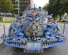 Weird car with complex decorations , Volkswagen Beetle , Vancouver , British Columbia , Canada , North America stock photo