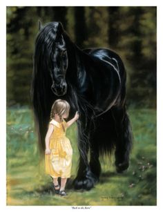"""""""Back to the Barn"""" Gentle Friesian with girl Lesley Harrison Art - Bing Images Pretty Horses, Horse Love, Beautiful Horses, Animals Beautiful, Painted Horses, Horse Photos, Horse Pictures, Animals And Pets, Cute Animals"""