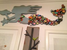 Blue Bottle Cap Mermaid-Beach Theme Wall Hanging by KnoBByLeTTers