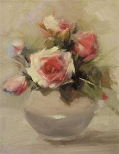 """Happy roses in a china vase"" - Original Fine Art for Sale - © Parastoo Ganjei"