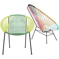 Multi-colored lounge chairs.  Interested in purchasing?  Contact 13 Design Lane Interiors for information.