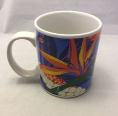 A little bit of Hawaii - without having to go to Hawaii! New Hilo Hattie Hawaii Island Hentage Coffee Mug Cup Birds Paradise Flowers Blue